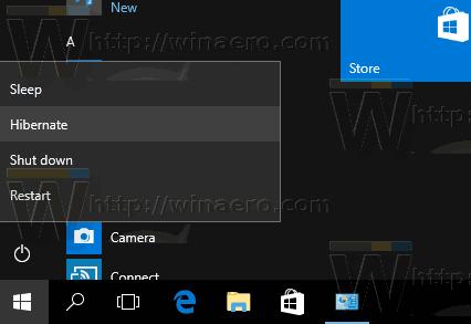 Windows 10 Hibernate PC Start Menu