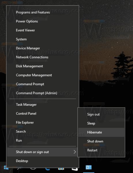 Windows 10 Hibernate PC Win X