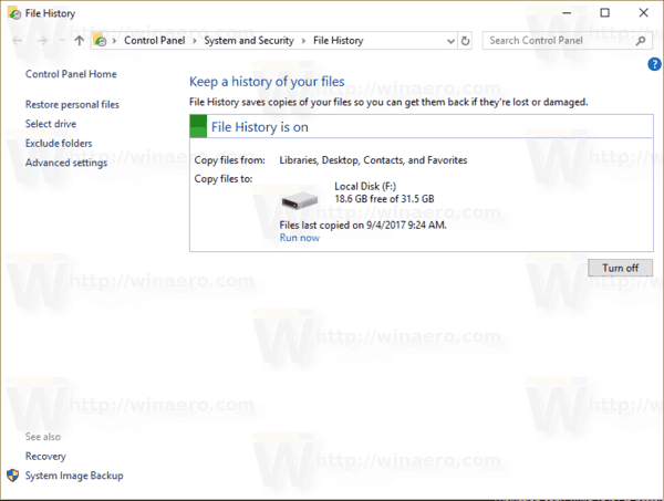 Windows 10 Open File History Enabled