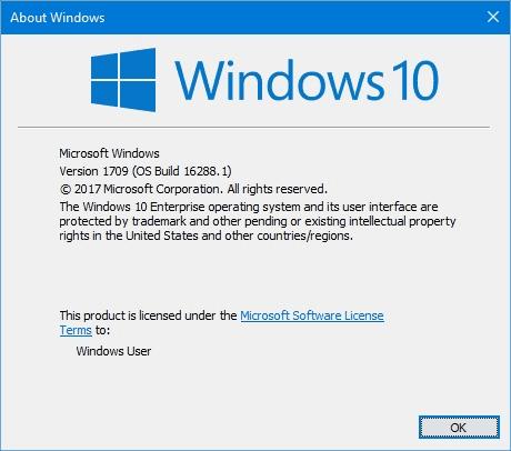 Windows 10 Build 16288 Winver