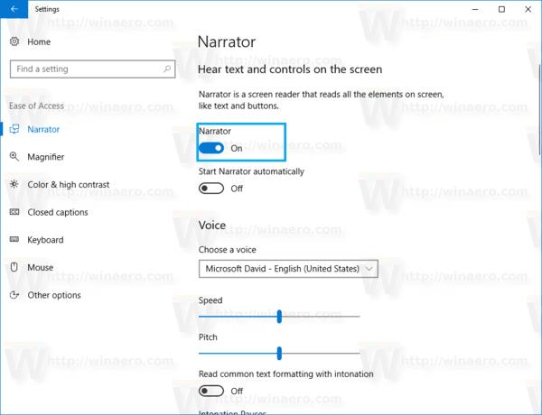 Windows 10 Enable Narrator