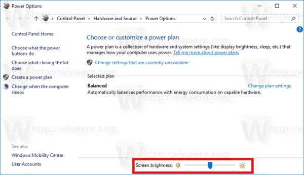 Windows 10 Screen Brightness Control Panel