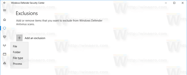 Windows Defender Add An Exclusion Menu