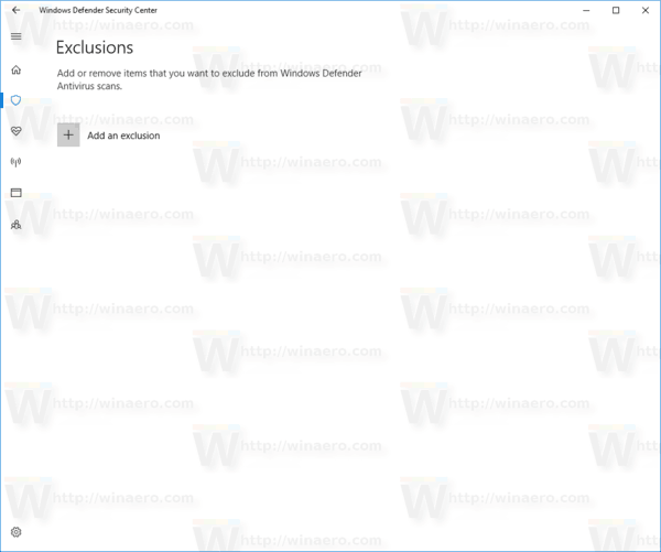 Windows Defender Add An Exclusion