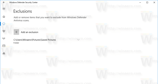 Windows Defender Added Exclusion