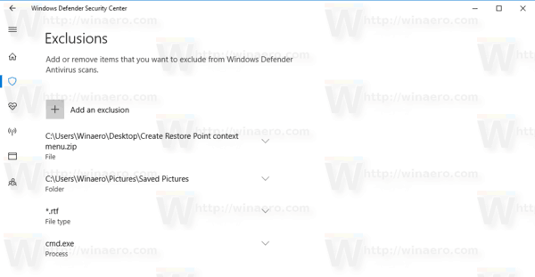 Windows Defender Exclusions