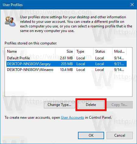 delete user account windows 7 registry