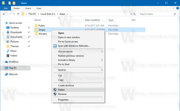 Remove windows 10 user folder