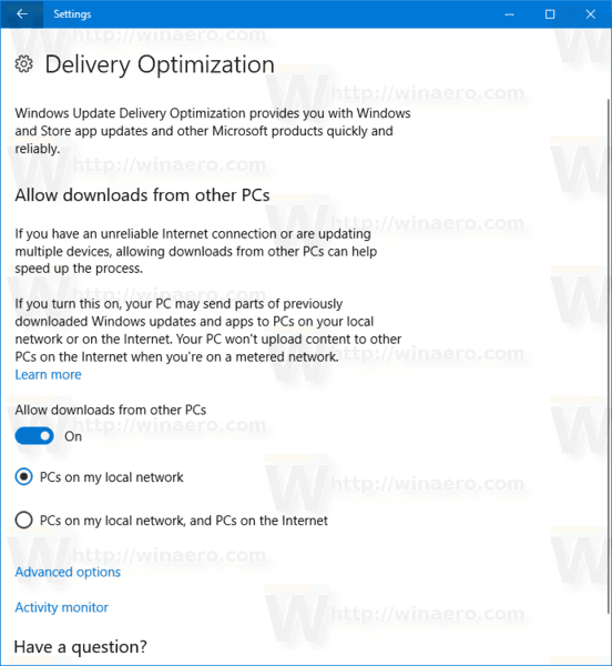 Delivery Optimization In Settings