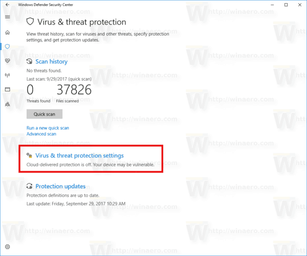 Link Virus Threat Protection Settings