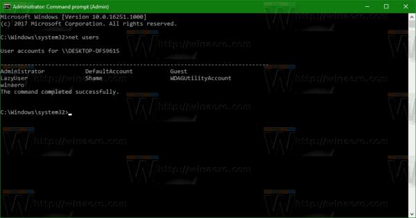 Net Users Windows 10