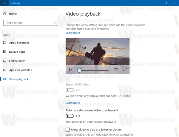 Settings Apps Video Playback Windows 10