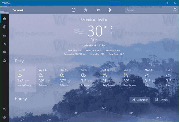 Weather App C Temperature