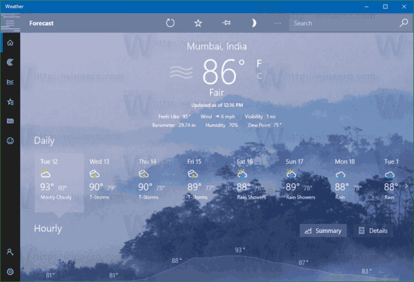 Change Fahrenheit to Celsius in Weather app in Windows 10