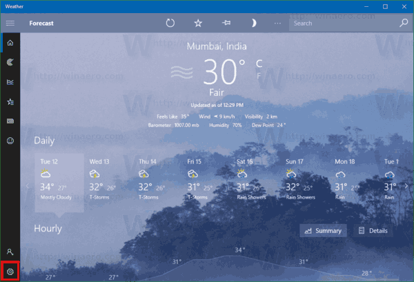 Reset the Weather App in Windows 10