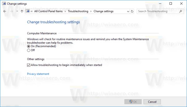 Control Panel Change Troubleshooting Settings Page
