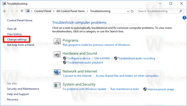 Control Panel Troubleshooting Change Settings Link