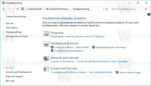 Control Panel Troubleshooting Page