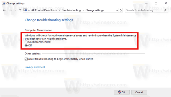 Disable Computer Maintenance Windows 10