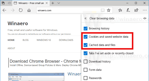 Edge Clear Browsing Data