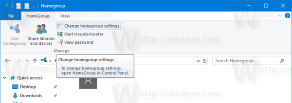 HomeGroup Change Settings Button File Explorer