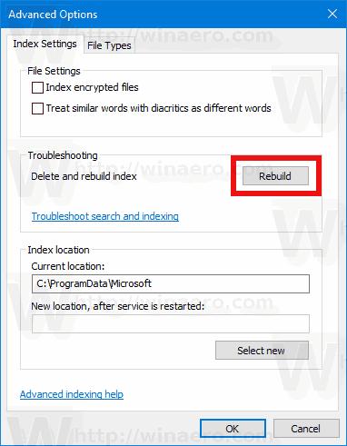 Indexing Options Windows 10 Rebuild Index