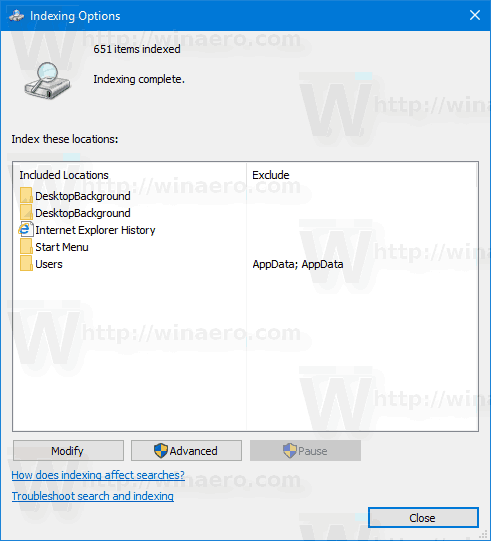 Indexing Options Windows 10