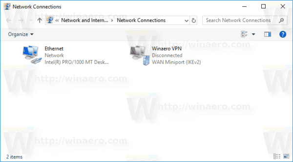 Network Connections Folder With VPN Windows 10