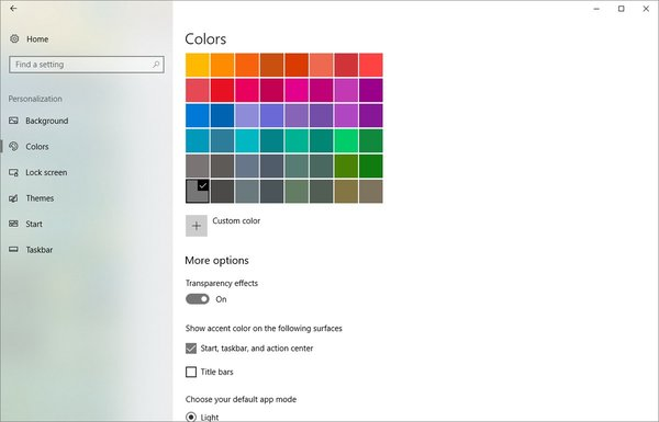 Settings Fluent Design Windows 10 2