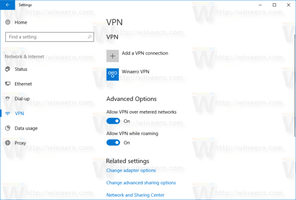 VPN Connection List Windows 10