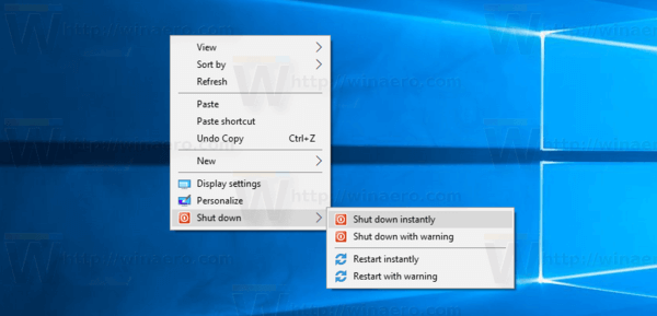 Windows 10 Shut Down Context Menu
