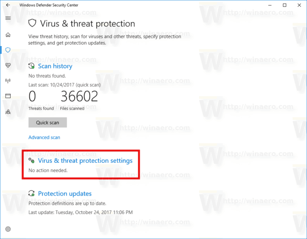 Windows 10 Defender Virus And Threat Protection Page