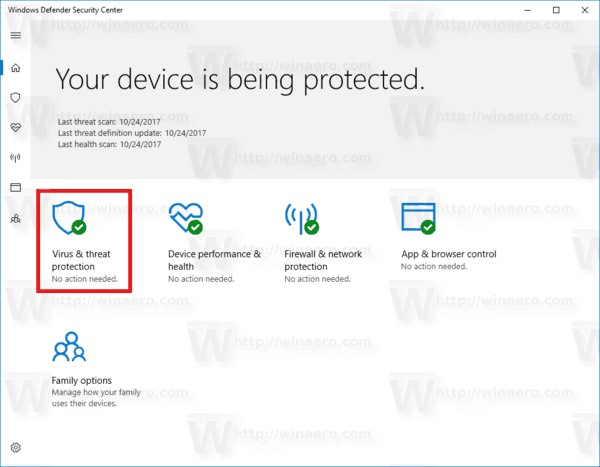 Windows 10 Defender Virus And Threat Protection