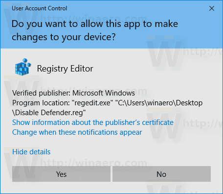 Windows 10 Disable Windows Defender Import Tweak