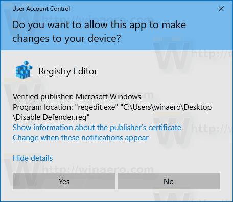 Windows 10 Disable Windows Defender Import Tweak