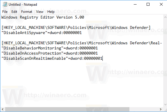 Windows 10 Disable Windows Defender Tweak