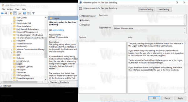 Windows 10 Group Policy Disable Fast User Switching