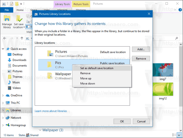Windows 10 Manage Library Set Default Location