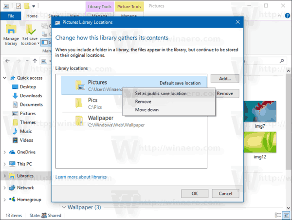 Windows 10 Manage Library Set Public Location
