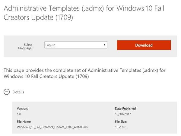 Administrative Templates Fall Creators Update