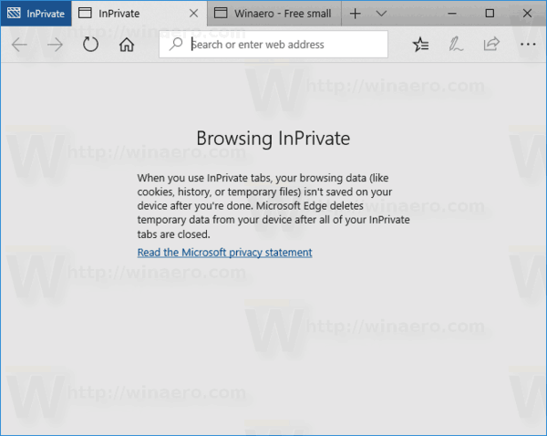 Edge Running Inprivate Windows 10