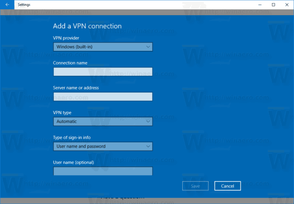 New VPN Connection Wizard Windows 10