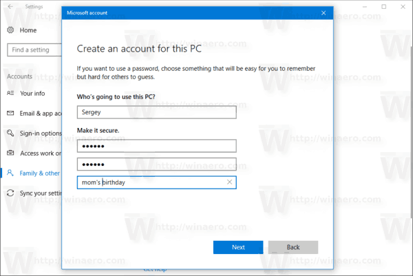 New User Account Wizard 3 Windows 10