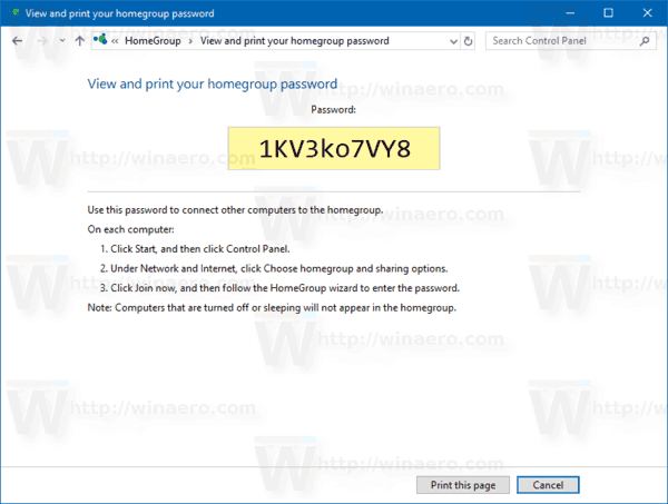 View Homegroup Password Windows 10