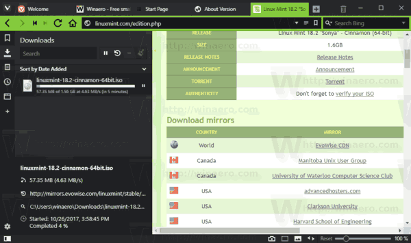 Vivaldi 1.13 Download Speed