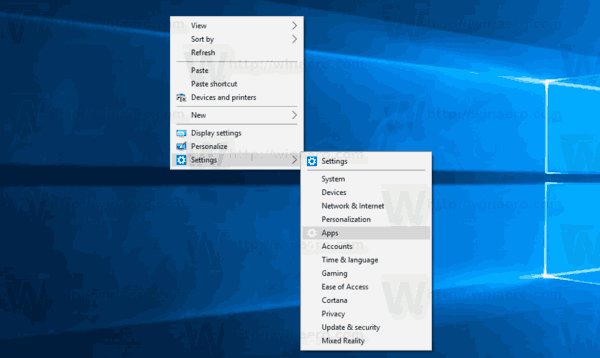 Add Settings Context Menu Windows 10