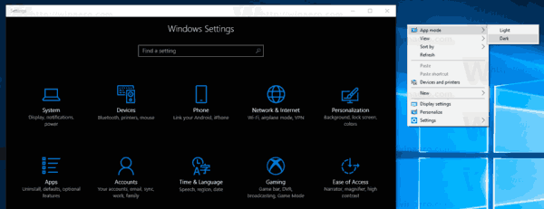 App Mode Context Menu Windows 10