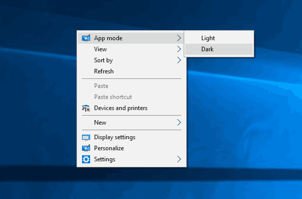 App Mode Context Menu Small Windows 10