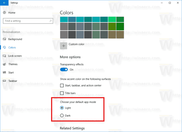 App Mode In Settings Colors Windows 10