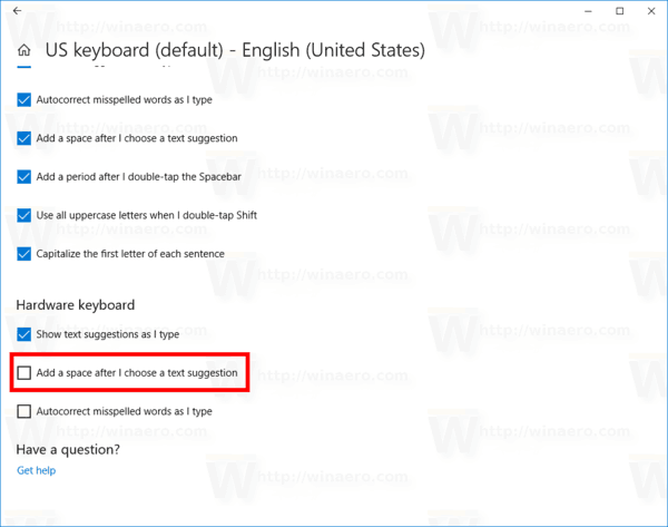 Disable Add Space For Hardware Keyboard In Windows 10
